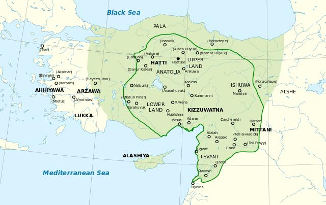 Carte de l'empire hittite
