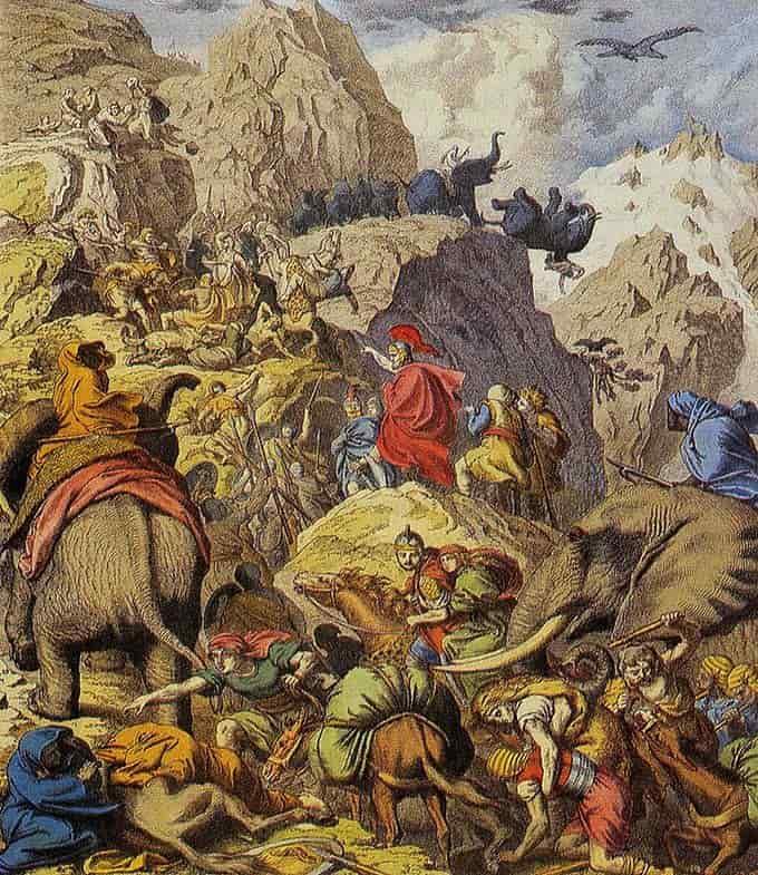Hannibal franchissant les alpes