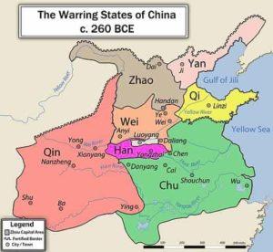 Carte des états de Chine en Guerre avant les Qin