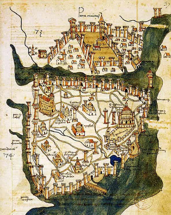 Carte de Constantinople avant l'arrivée des Ottomans