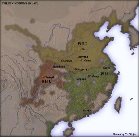 Carte des Trois Royaumes Chine