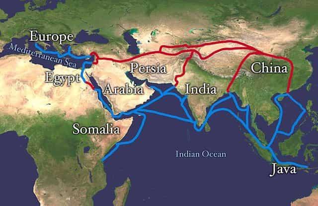 Carte de la route de la soie terrestre et maritime