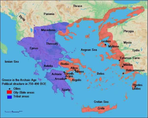 Carte des Cité-Etat et de la grèce antique