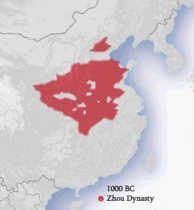 Carte de l'étendue de la Chine sous la dynastie Zhou