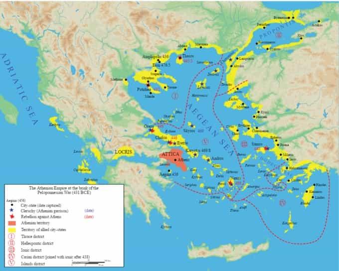 Hégémonie athénienne carte de leur influence