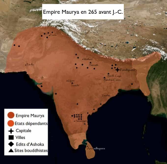Carte de l'empire Maurya à son apogée