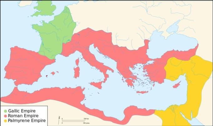 Carte de l'empire romain et de ses divisions au 3ème siècle
