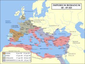 Carte de l'empire romain sous les Flaviens