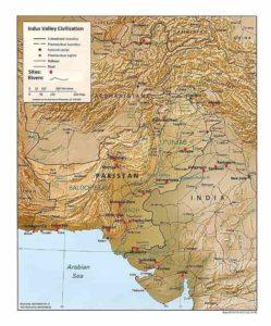 Carte de la civilisation de la vallée de l'Indus