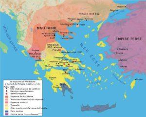 Carte du royaume de Macédoine à la mort d'Alexandre le Grand
