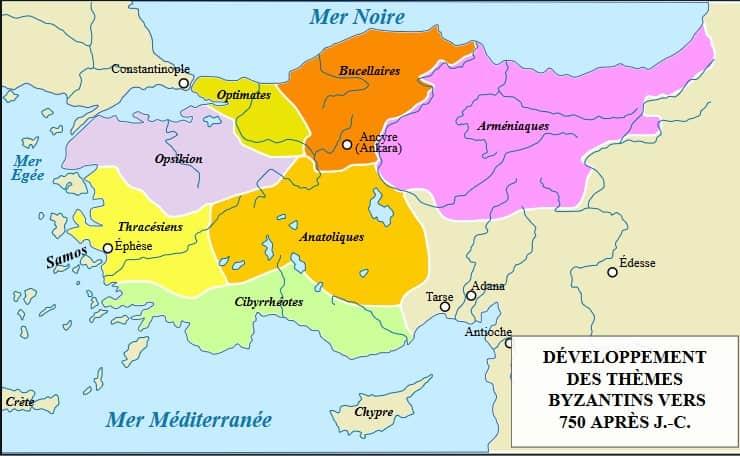 Carte de la division de l'Empire Byzantin par thèmes