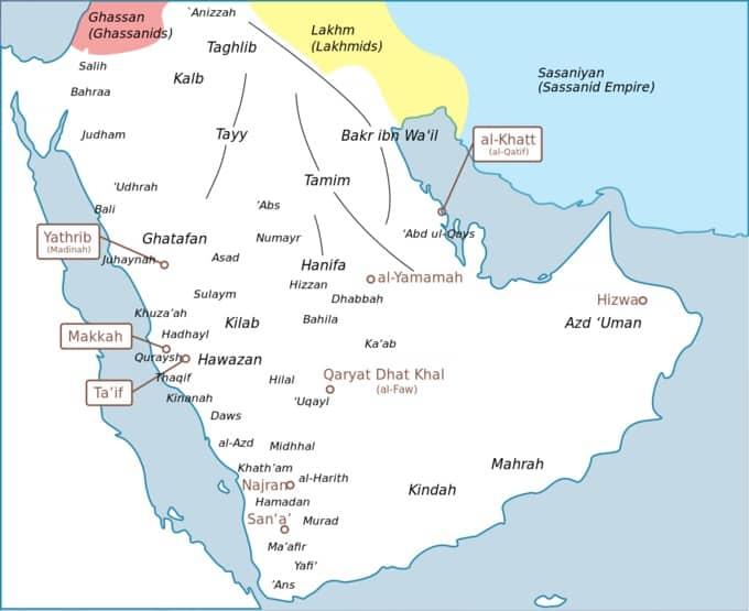 Carte des tribus d'arabie avant l'Islam