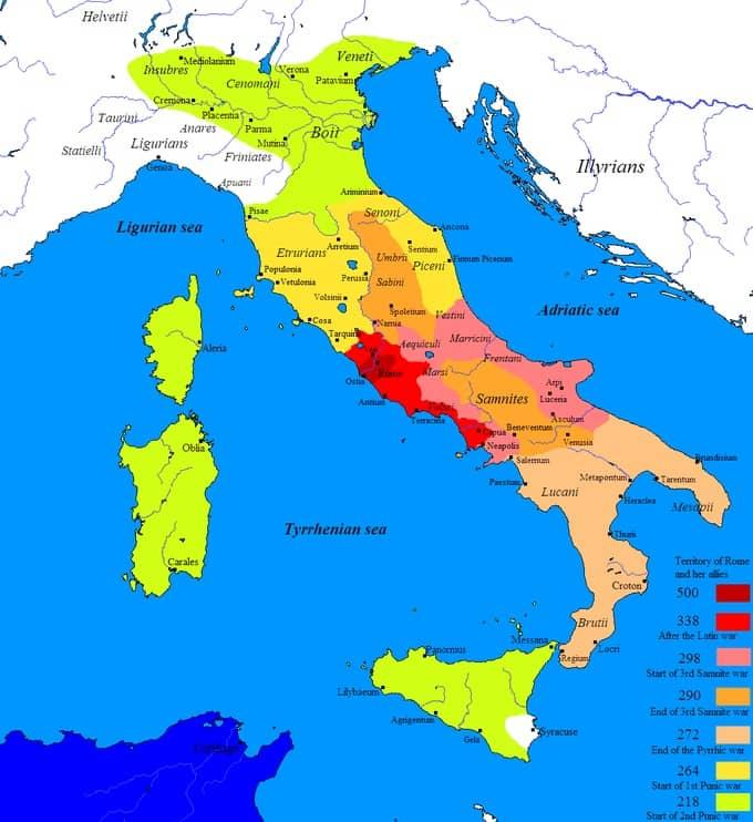 Carte des conquêtes militaires de la Rome antique