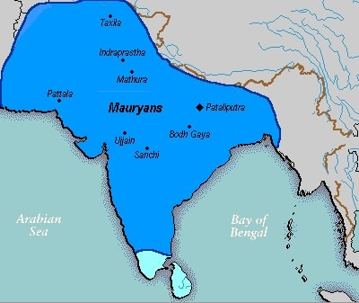Carte de l'Empire Maurya en 265 avant J.-C.