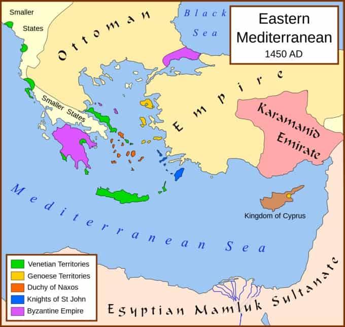 Carte de l'Empire Ottoman avant la chute de Constantinople