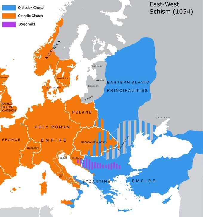 Carte grand schisme d'orient de 1054 et de la séparation des églises