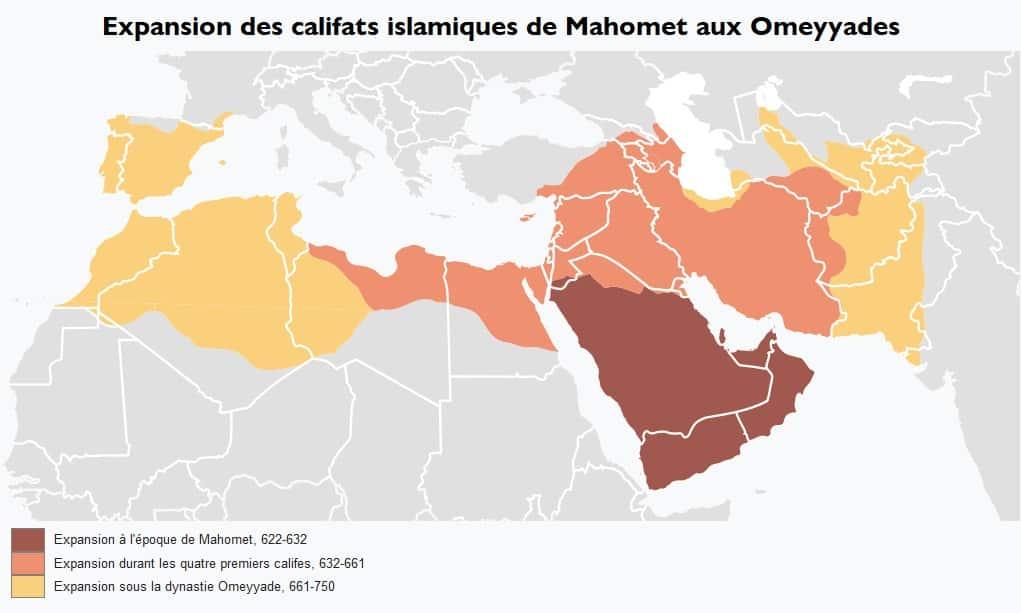 Expansion des califats islamiques carte