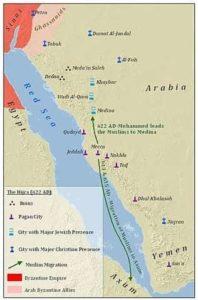 Carte de l'hégire de Mahomet